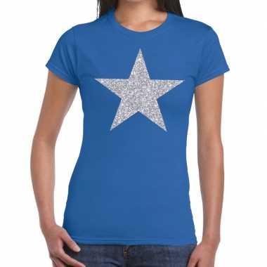 Zilveren ster glitter t shirt blauw dames
