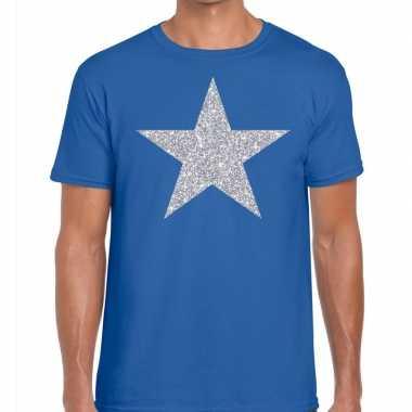 Zilveren ster glitter t shirt blauw heren