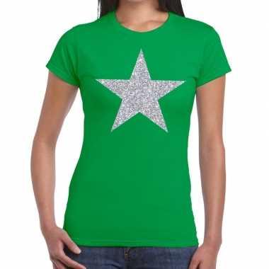 Zilveren ster glitter t shirt groen dames
