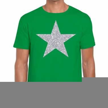 Zilveren ster glitter t shirt groen heren