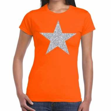 Zilveren ster glitter t shirt oranje dames