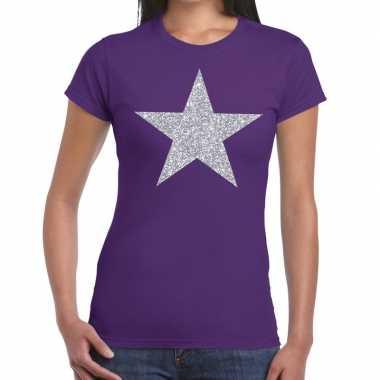 Zilveren ster glitter t shirt paars dames