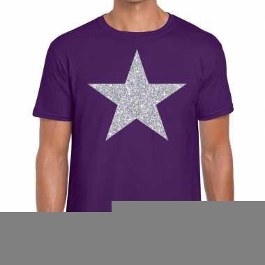 Zilveren ster glitter t shirt paars heren