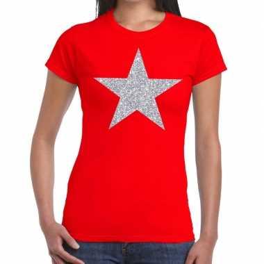 Zilveren ster glitter t shirt rood dames