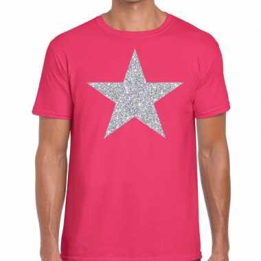 Zilveren ster glitter t shirt roze heren