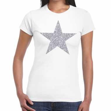 Zilveren ster glitter t shirt wit dames