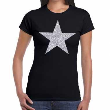 Zilveren ster glitter t shirt zwart dames
