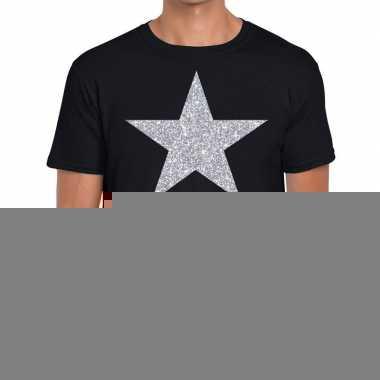 Zilveren ster glitter t shirt zwart heren