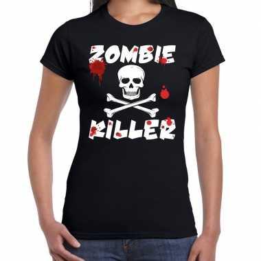 Zombie killer halloween t shirt zwart dames