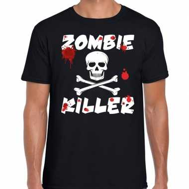 Zombie killer halloween t shirt zwart heren