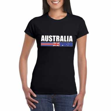 Zwart australie supporter t shirt dames