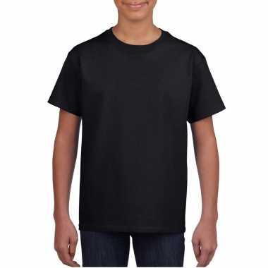 Zwart basic t shirt ronde hals kinderen / unisex katoen