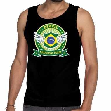 Zwart brazil drinking team tanktop / mouwloos shirt heren