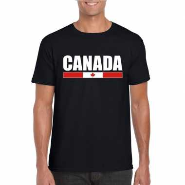 Zwart canada supporter t shirt heren