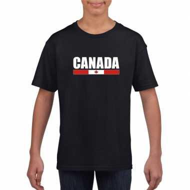 Zwart canada supporter t shirt kinderen