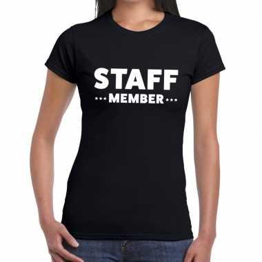 Zwart crew shirt staff member bedrukking dames