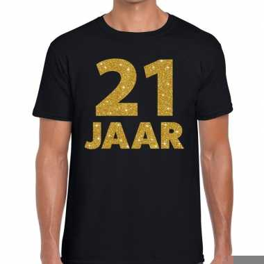 Zwart eenentwintig jaar verjaardag shirt heren gouden bedrukking