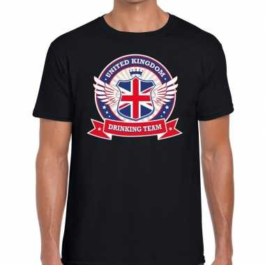 Zwart engeland drinking team t shirt heren