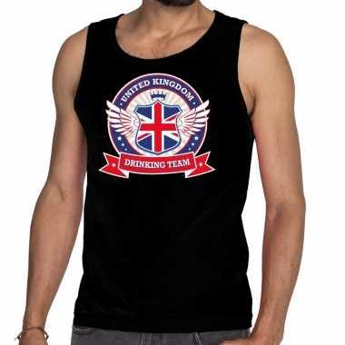 Zwart engeland drinking team tanktop / mouwloos shirt heren