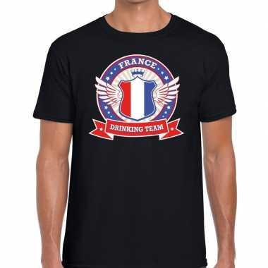 Zwart france drinking team t shirt heren