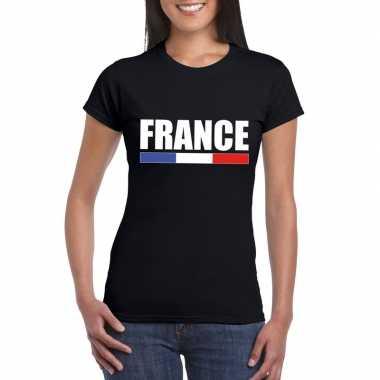 Zwart frankrijk supporter t shirt dames