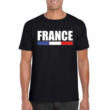 Zwart frankrijk supporter t shirt heren