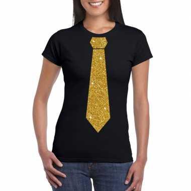 Zwart fun t shirt stropdas glitter goud dames
