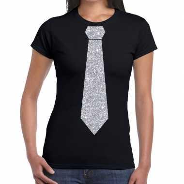 Zwart fun t shirt stropdas glitter zilver dames