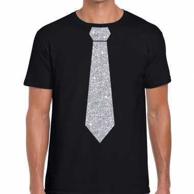Zwart fun t shirt stropdas glitter zilver heren