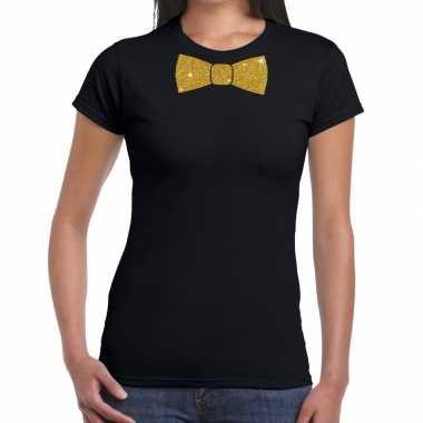 Zwart fun t shirt vlinderdas glitter goud dames