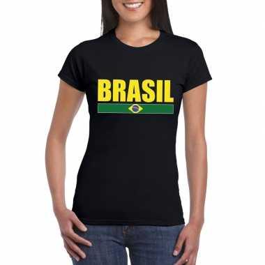 Zwart/ geel brazilie supporter t shirt dames
