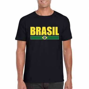 Zwart/ geel brazilie supporter t shirt heren