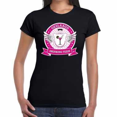 Zwart geslaagd drinking team t shirt dames
