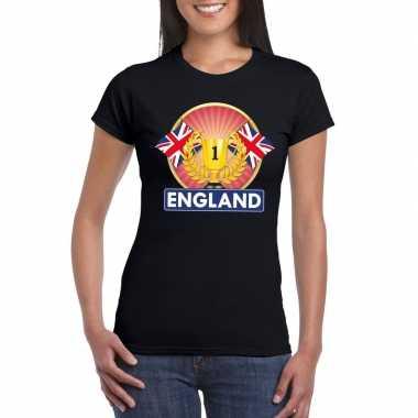 Zwart groot brittannie/ engeland supporter kampioen shirt dames