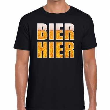 Zwart heren shirt bier hier bedrukking