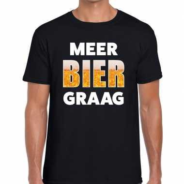 Zwart heren shirt meer bier graag bedrukking