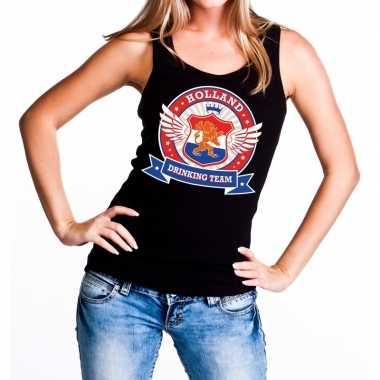 Zwart holland drinking team tanktop mouwloos shirt dames 10140296