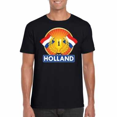Zwart holland supporter kampioen shirt heren
