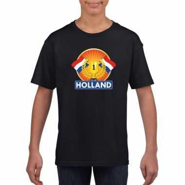 Zwart holland supporter kampioen shirt kinderen