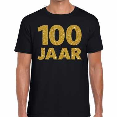 Zwart honderd jaar verjaardag shirt heren gouden bedrukking