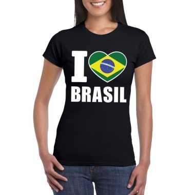 Zwart i love brazilie fan shirt dames