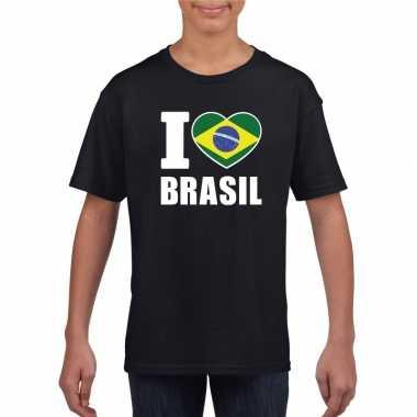 Zwart i love brazilie fan shirt kinderen