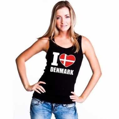 Zwart i love denemarken fan singlet shirt/ tanktop dames
