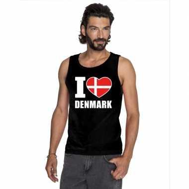 Zwart i love denemarken fan singlet shirt/ tanktop heren