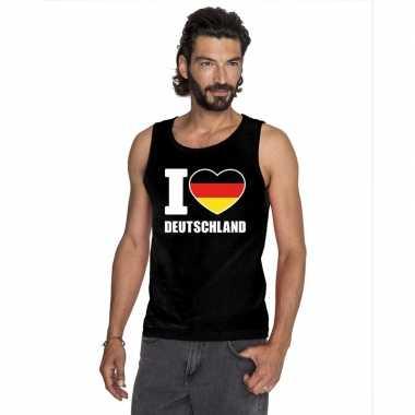 Zwart i love duitsland fan singlet shirt/ tanktop heren