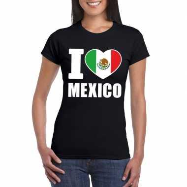 Zwart i love mexico fan shirt dames