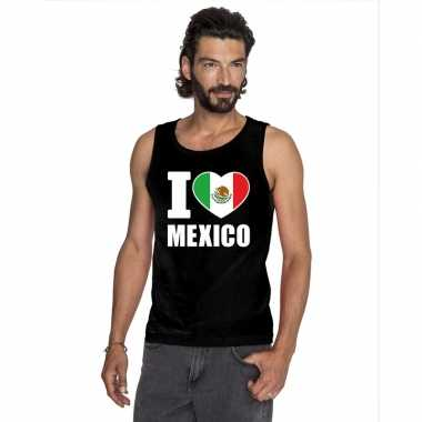 Zwart i love mexico fan singlet shirt/ tanktop heren