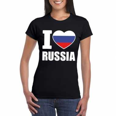 Zwart i love rusland fan shirt dames