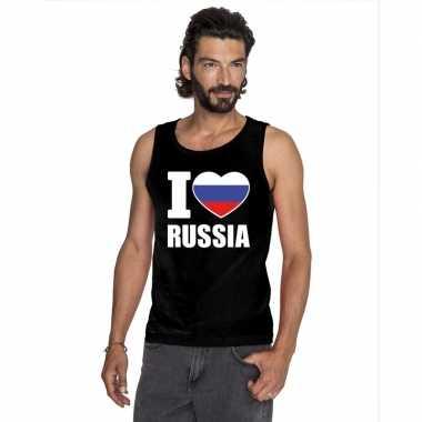 Zwart i love rusland fan singlet shirt/ tanktop heren