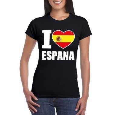 Zwart i love spanje fan shirt dames